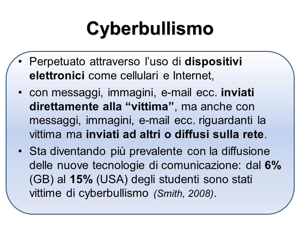 Cyberbullismo Perpetuato attraverso luso di dispositivi elettronici come cellulari e Internet, con messaggi, immagini, e-mail ecc.