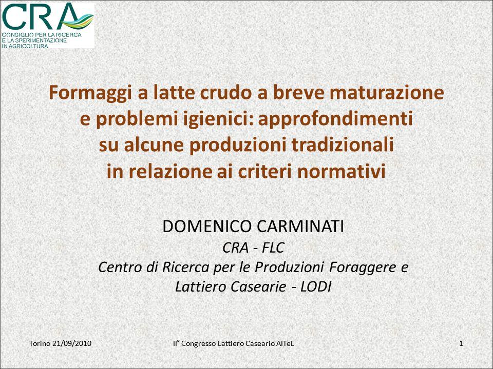 Torino 21/09/2010II° Congresso Lattiero Caseario AITeL I formaggi a latte crudo sono considerati fra gli alimenti a maggior rischio igienico.