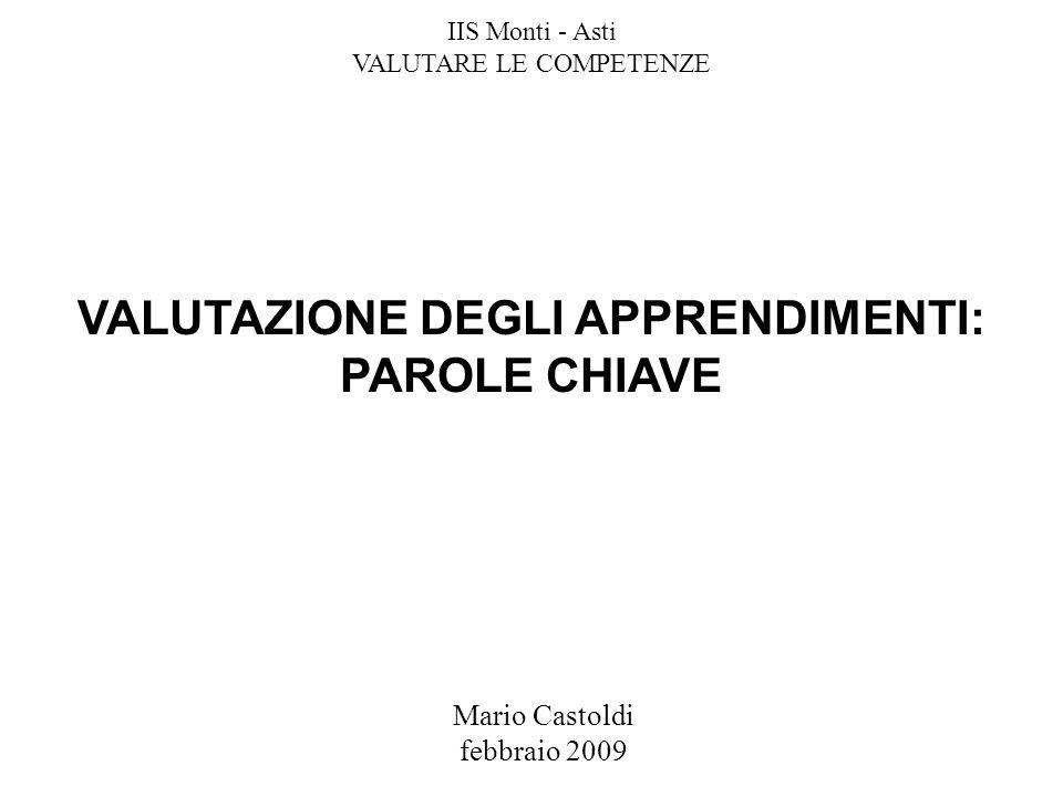 Mario Castoldi febbraio 2009 VALUTAZIONE DEGLI APPRENDIMENTI: PAROLE CHIAVE IIS Monti - Asti VALUTARE LE COMPETENZE