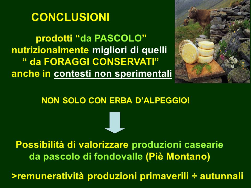 CONCLUSIONI prodotti da PASCOLO nutrizionalmente migliori di quelli da FORAGGI CONSERVATI anche in contesti non sperimentali NON SOLO CON ERBA DALPEGGIO.