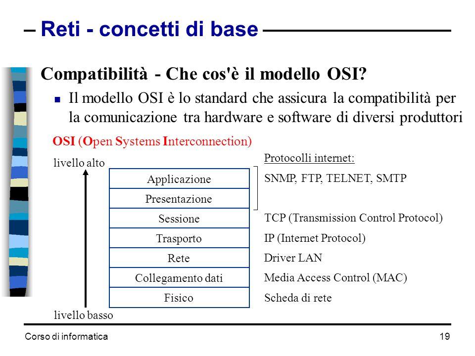 Corso di informatica 19 Reti - concetti di base Compatibilità - Che cos'è il modello OSI? Il modello OSI è lo standard che assicura la compatibilità p