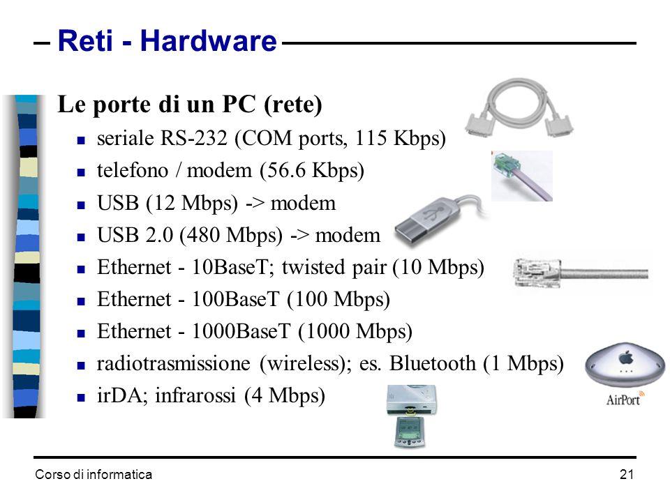 Corso di informatica 21 Reti - Hardware Le porte di un PC (rete) seriale RS-232 (COM ports, 115 Kbps) telefono / modem (56.6 Kbps) USB (12 Mbps) -> mo
