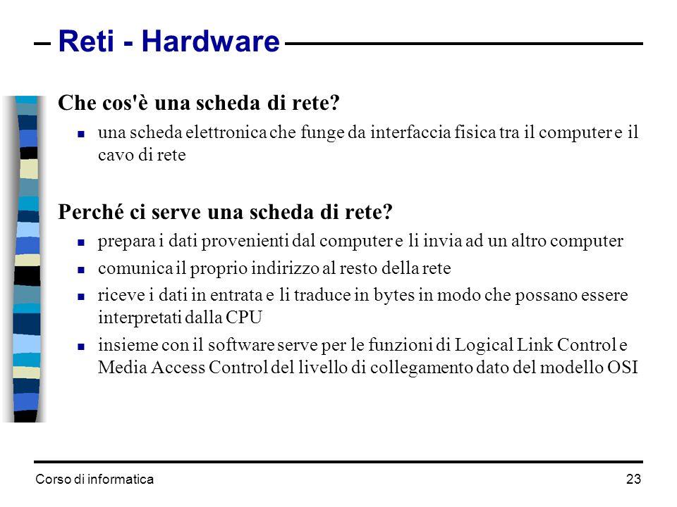 Corso di informatica 23 Reti - Hardware Che cos'è una scheda di rete? una scheda elettronica che funge da interfaccia fisica tra il computer e il cavo