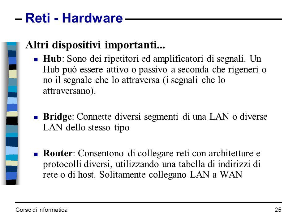 Corso di informatica 25 Reti - Hardware Altri dispositivi importanti... Hub: Sono dei ripetitori ed amplificatori di segnali. Un Hub può essere attivo