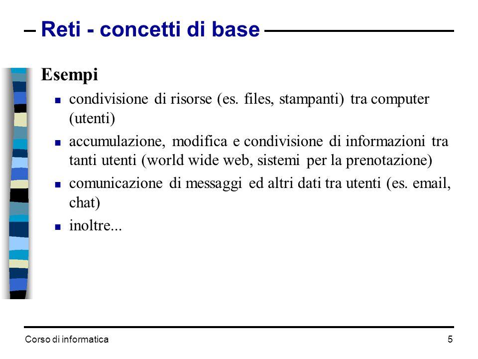 Corso di informatica 5 Reti - concetti di base Esempi condivisione di risorse (es. files, stampanti) tra computer (utenti) accumulazione, modifica e c