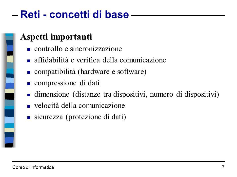 Corso di informatica 7 Reti - concetti di base Aspetti importanti controllo e sincronizzazione affidabilità e verifica della comunicazione compatibili