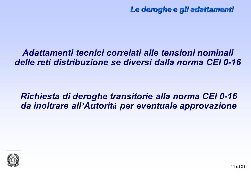 11 di 21 Le deroghe e gli adattamenti Adattamenti tecnici correlati alle tensioni nominali delle reti distribuzione se diversi dalla norma CEI 0-16 Ri