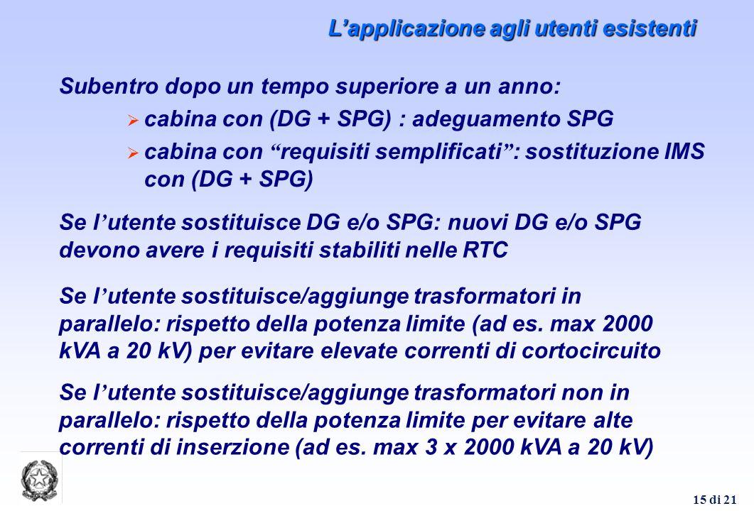 15 di 21 Subentro dopo un tempo superiore a un anno: cabina con (DG + SPG) : adeguamento SPG cabina con requisiti semplificati : sostituzione IMS con (DG + SPG) Se l utente sostituisce DG e/o SPG: nuovi DG e/o SPG devono avere i requisiti stabiliti nelle RTC Se l utente sostituisce/aggiunge trasformatori in parallelo: rispetto della potenza limite (ad es.