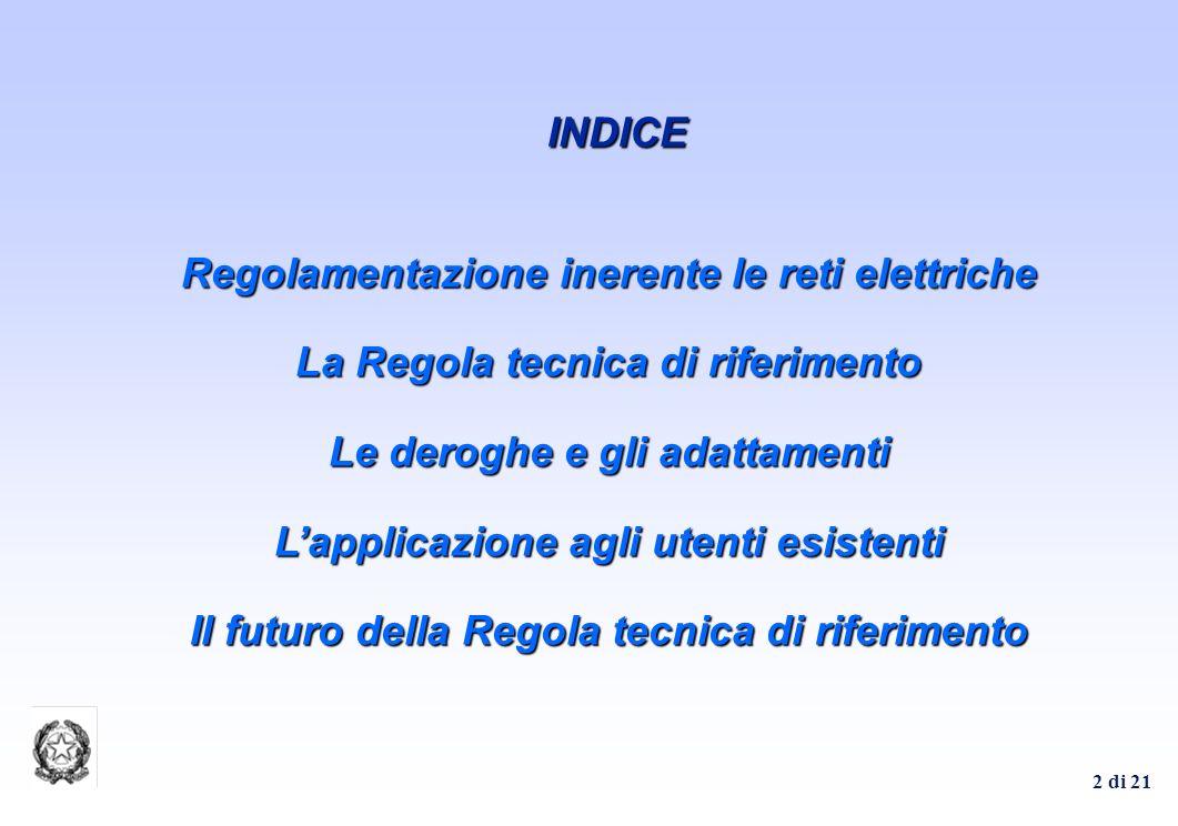 2 di 21 Regolamentazione inerente le reti elettriche La Regola tecnica di riferimento Le deroghe e gli adattamenti Lapplicazione agli utenti esistenti Il futuro della Regola tecnica di riferimento INDICE