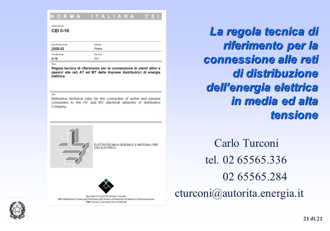 21 di 21 La regola tecnica di riferimento per la connessione alle reti di distribuzione dellenergia elettrica in media ed alta tensione Carlo Turconi tel.