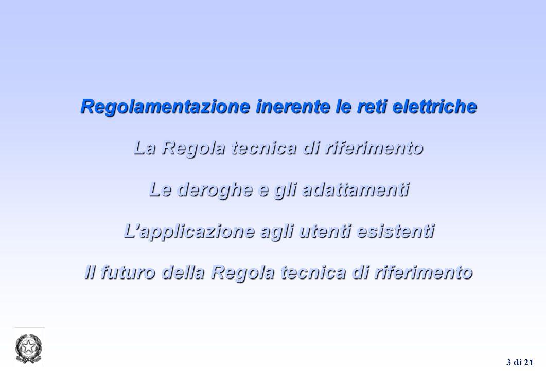 3 di 21 Regolamentazione inerente le reti elettriche La Regola tecnica di riferimento Le deroghe e gli adattamenti Lapplicazione agli utenti esistenti
