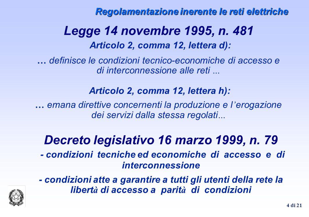 4 di 21 Legge 14 novembre 1995, n. 481 Articolo 2, comma 12, lettera d): … definisce le condizioni tecnico-economiche di accesso e di interconnessione