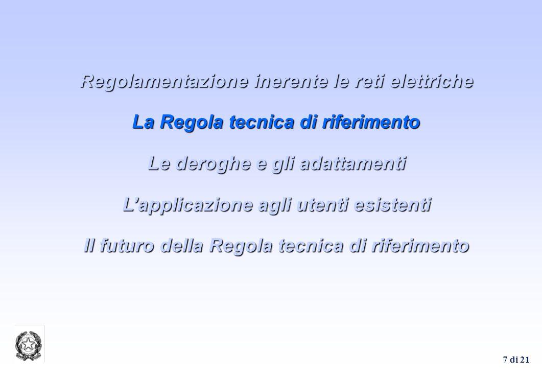 7 di 21 Regolamentazione inerente le reti elettriche La Regola tecnica di riferimento Le deroghe e gli adattamenti Lapplicazione agli utenti esistenti