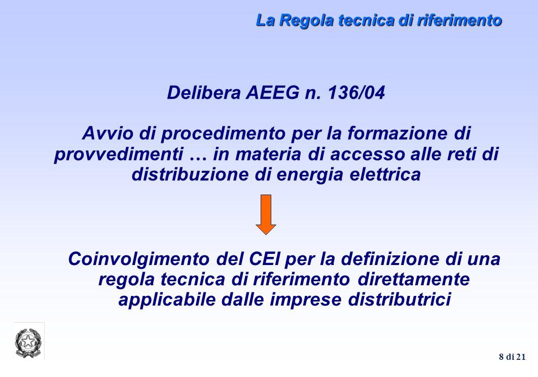 8 di 21 La Regola tecnica di riferimento Delibera AEEG n. 136/04 Avvio di procedimento per la formazione di provvedimenti … in materia di accesso alle