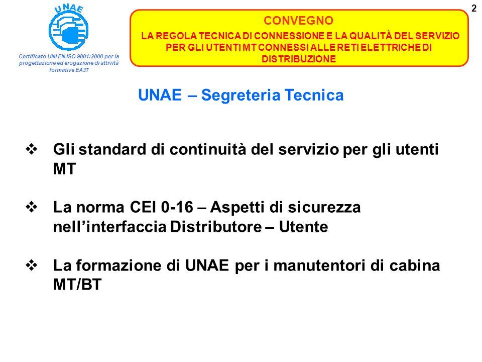 Certificato UNI EN ISO 9001:2000 per la progettazione ed erogazione di attività formative EA37 CONVEGNO LA REGOLA TECNICA DI CONNESSIONE E LA QUALITÀ DEL SERVIZIO PER GLI UTENTI MT CONNESSI ALLE RETI ELETTRICHE DI DISTRIBUZIONE 13 La norma CEI 0-16 Aspetti di sicurezza nellinterfaccia Distributore – Utente.