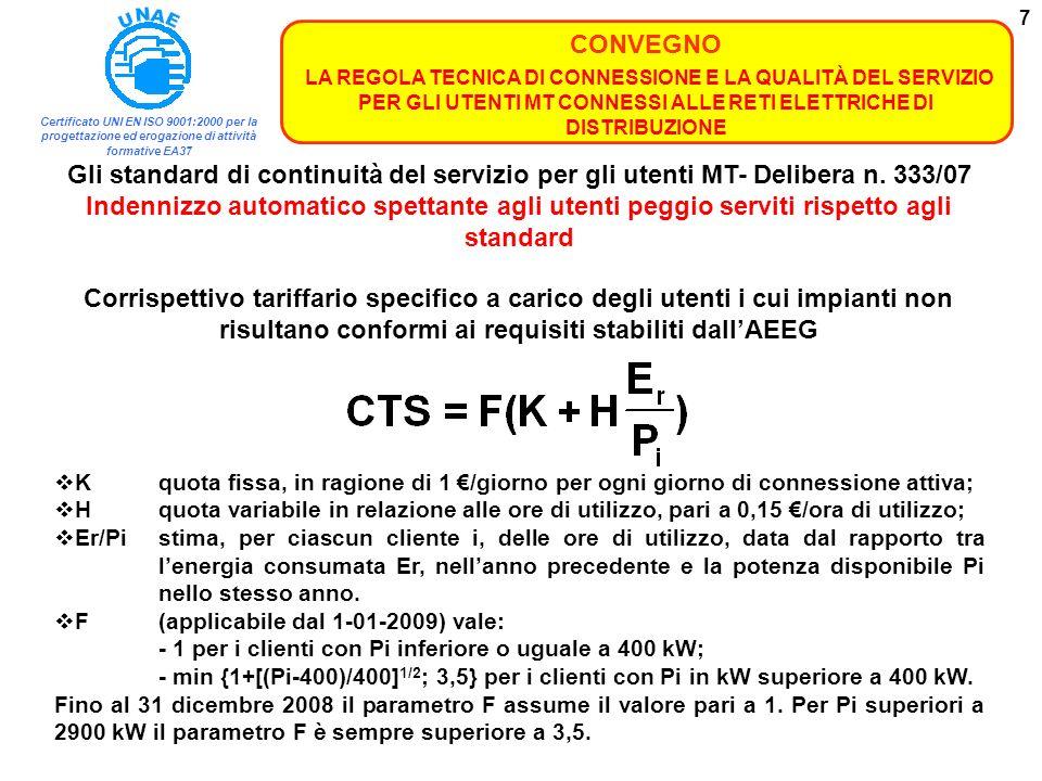 Certificato UNI EN ISO 9001:2000 per la progettazione ed erogazione di attività formative EA37 CONVEGNO LA REGOLA TECNICA DI CONNESSIONE E LA QUALITÀ DEL SERVIZIO PER GLI UTENTI MT CONNESSI ALLE RETI ELETTRICHE DI DISTRIBUZIONE 38 Norma CEI 0-15 2006-04 - Manutenzione delle cabine elettriche MT/BT dei clienti/utenti finale Norma CEI 0-16 2008-02 - Regola tecnica di riferimento per la connessione di Utenti attivi e passivi alle reti AT ed MT delle imprese distributrici di energia elettrica