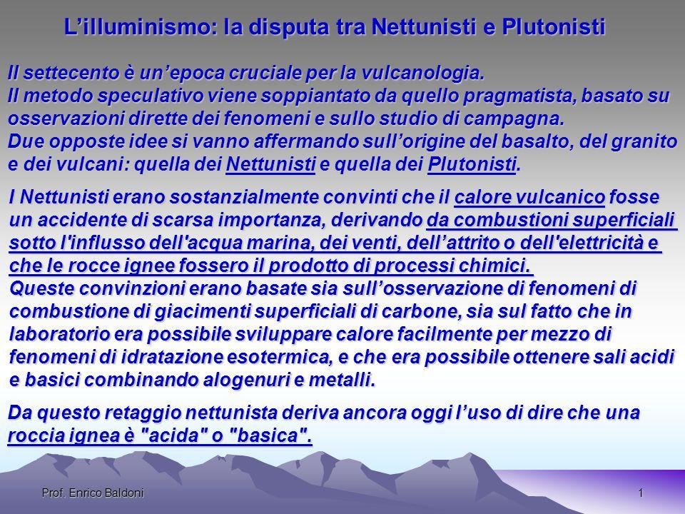 Prof.Enrico Baldoni1 Il settecento è unepoca cruciale per la vulcanologia.