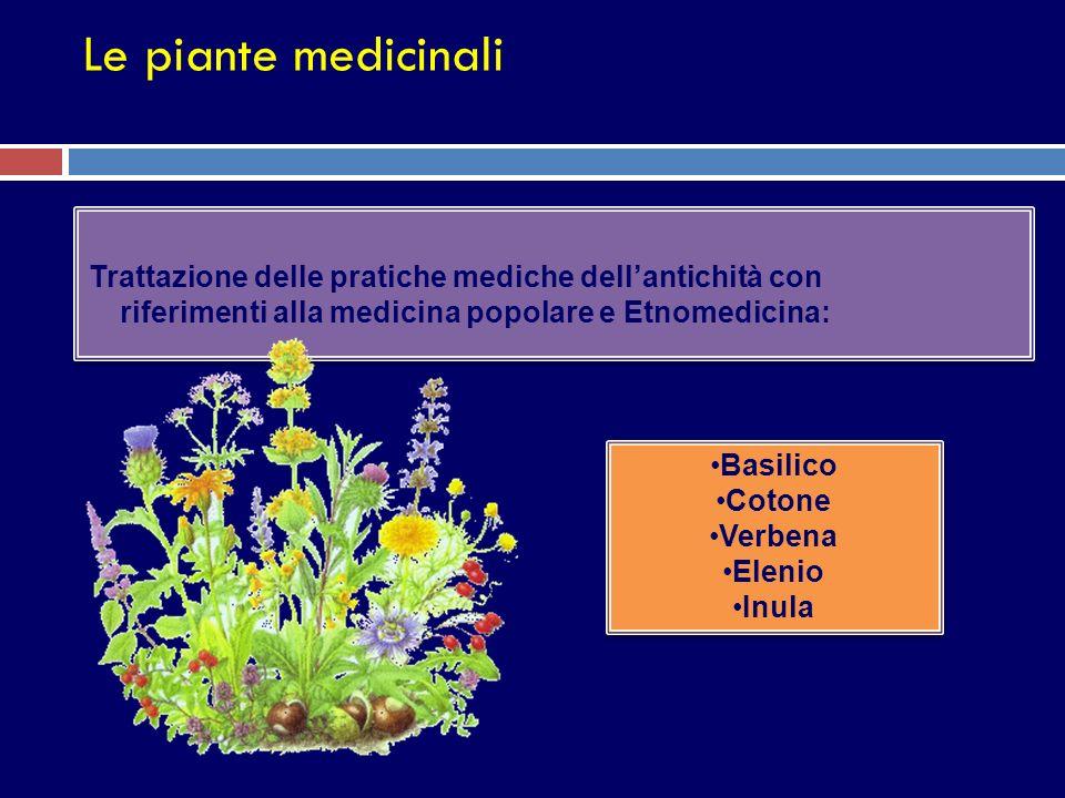 Le piante medicinali Trattazione delle pratiche mediche dellantichità con riferimenti alla medicina popolare e Etnomedicina: Basilico Cotone Verbena E
