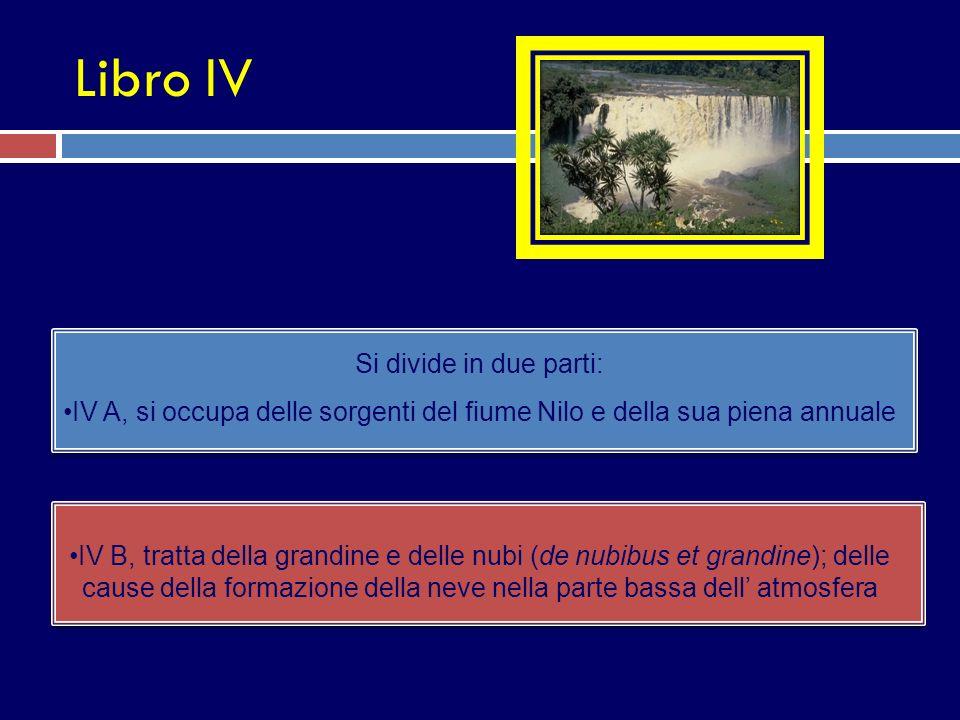 Libro IV Si divide in due parti: IV A, si occupa delle sorgenti del fiume Nilo e della sua piena annuale IV B, tratta della grandine e delle nubi (de