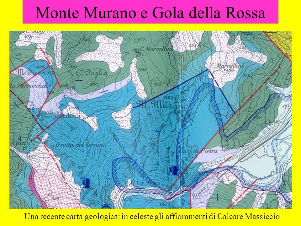 Monte Murano e Gola della Rossa Una recente carta geologica: in celeste gli affioramenti di Calcare Massiccio