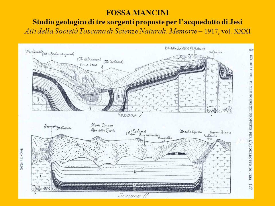 FOSSA MANCINI Studio geologico di tre sorgenti proposte per lacquedotto di Jesi Atti della Società Toscana di Scienze Naturali. Memorie – 1917, vol. X