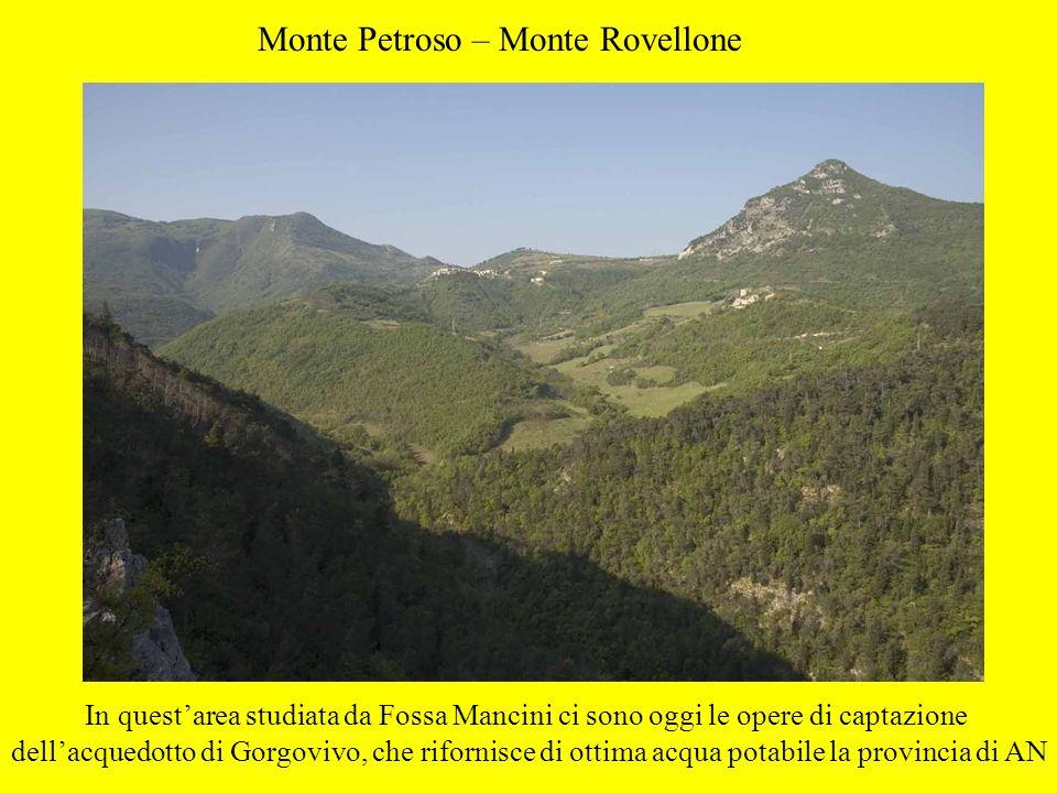 Monte Petroso – Monte Rovellone In questarea studiata da Fossa Mancini ci sono oggi le opere di captazione dellacquedotto di Gorgovivo, che rifornisce
