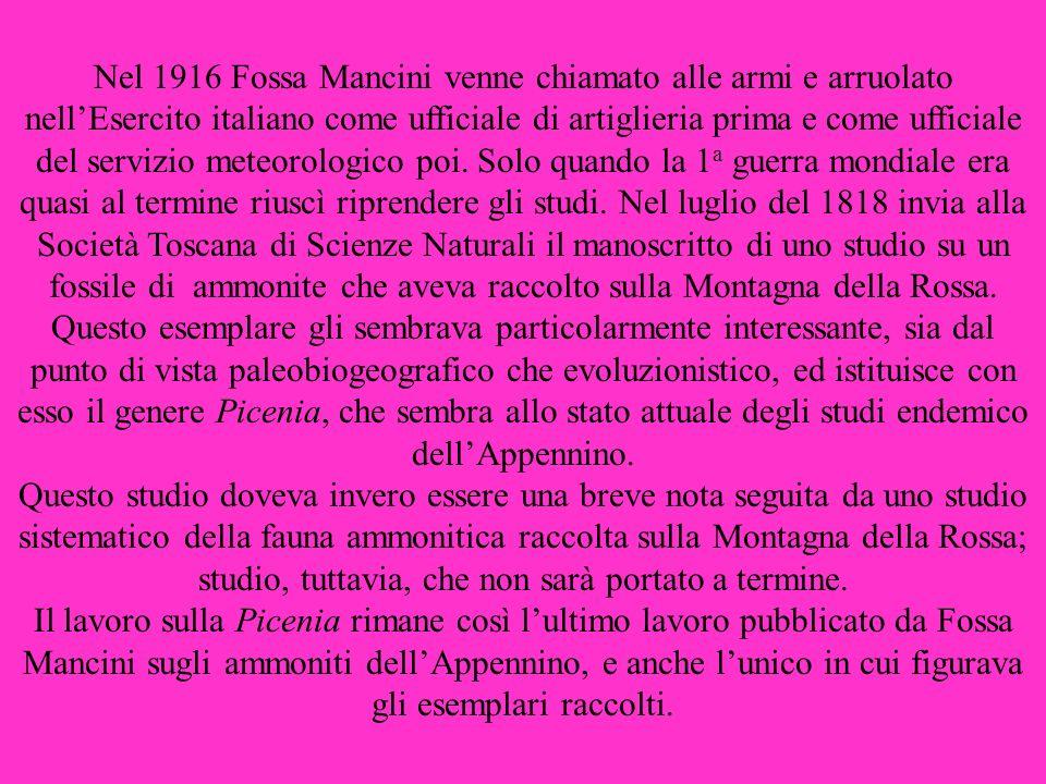 Nel 1916 Fossa Mancini venne chiamato alle armi e arruolato nellEsercito italiano come ufficiale di artiglieria prima e come ufficiale del servizio me