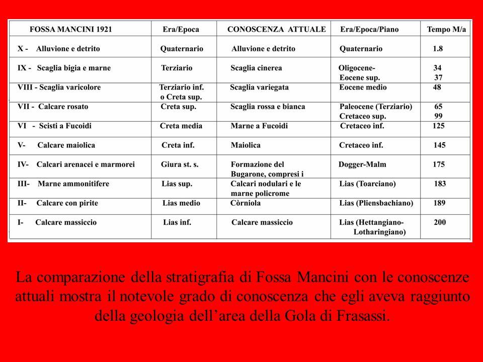 La comparazione della stratigrafia di Fossa Mancini con le conoscenze attuali mostra il notevole grado di conoscenza che egli aveva raggiunto della ge