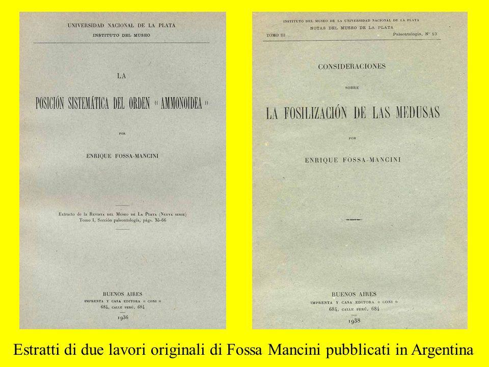 Estratti di due lavori originali di Fossa Mancini pubblicati in Argentina