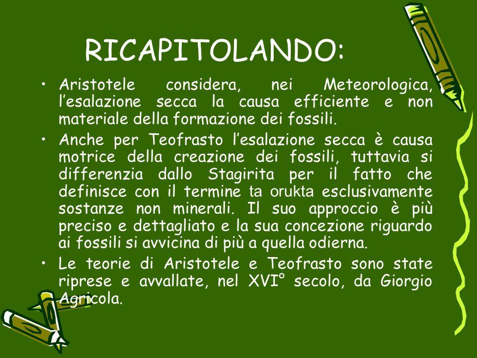 RICAPITOLANDO: Aristotele considera, nei Meteorologica, lesalazione secca la causa efficiente e non materiale della formazione dei fossili. Anche per