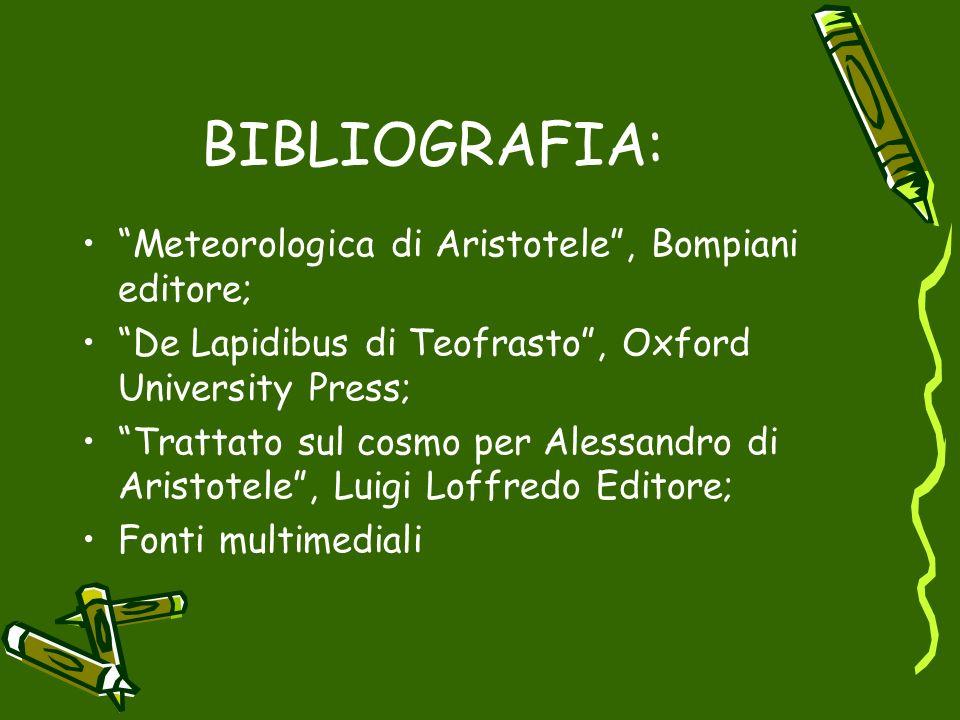 BIBLIOGRAFIA: Meteorologica di Aristotele, Bompiani editore; De Lapidibus di Teofrasto, Oxford University Press; Trattato sul cosmo per Alessandro di