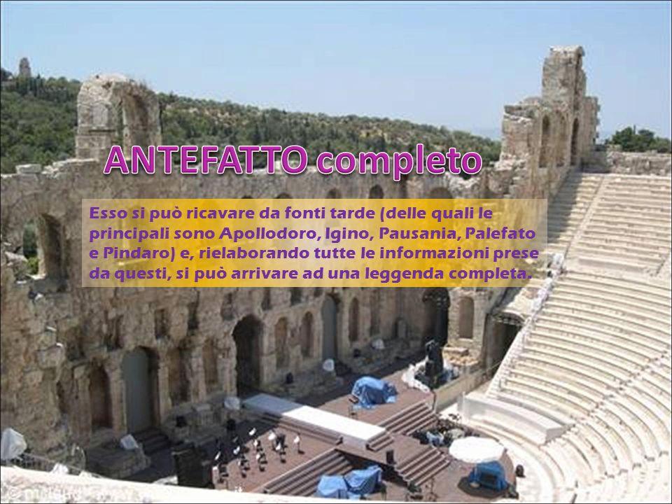 Esso si può ricavare da fonti tarde (delle quali le principali sono Apollodoro, Igino, Pausania, Palefato e Pindaro) e, rielaborando tutte le informaz