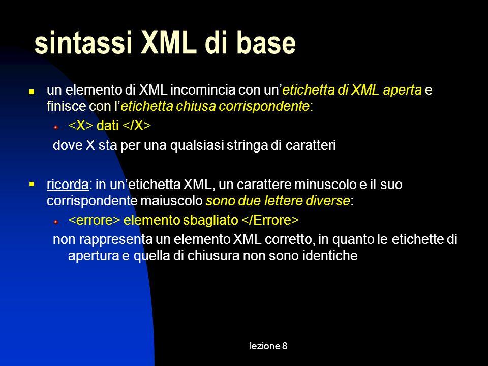 lezione 8 un elemento di XML incomincia con unetichetta di XML aperta e finisce con letichetta chiusa corrispondente: dati dove X sta per una qualsiasi stringa di caratteri ricorda: in unetichetta XML, un carattere minuscolo e il suo corrispondente maiuscolo sono due lettere diverse: elemento sbagliato non rappresenta un elemento XML corretto, in quanto le etichette di apertura e quella di chiusura non sono identiche sintassi XML di base