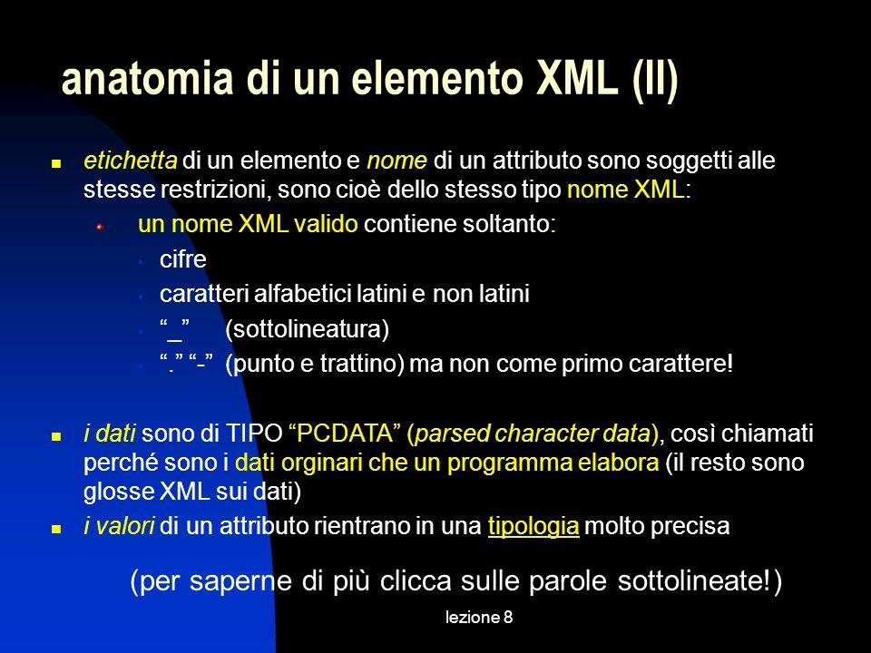 lezione 8 etichetta di un elemento e nome di un attributo sono soggetti alle stesse restrizioni, sono cioè dello stesso tipo nome XML: un nome XML valido contiene soltanto: cifre caratteri alfabetici latini e non latini _ (sottolineatura).
