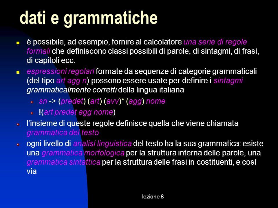 lezione 8 principali tipi di valori di un attributo CDATA dati di tipo carattere* (en1|en2|..)il valore è un elemento di una lista disgiuntiva IDil valore è un identificatore univoco IDREFil valore è un riferimento a un ID IDREFS il valore è una lista di riferimenti a ID° NMTOKEN il valore è un nome XML valido** NMTOKENSil valore è una lista di NMTOKEN° ENTITYil valore è labbreviazione di un testo ENTITIESil valore è una lista di ENTITY° *è il tipo di valori meno restrittivo (non può tuttavia includere i caratteri < e &) °idrefs, nmtokens ed entities sono le sole liste possibili come valori di un attributo ** a differenza di un nome XML, tuttavia, NMTOKEN può iniziare con un punto o un trattino