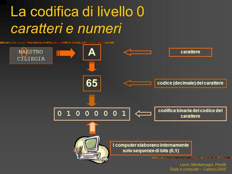 Lenci, Montemagni, Pirrelli Testo e computer – Carocci 2005 La codifica di livello 0 caratteri e numeri A carattere 65 codice (decimale) del carattere