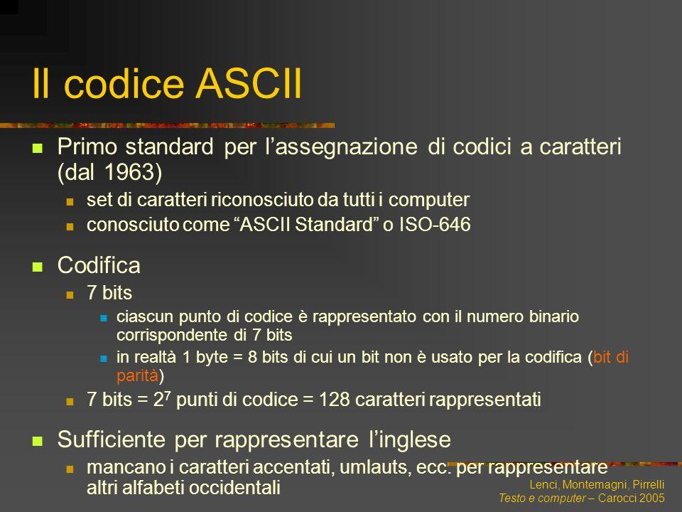 Lenci, Montemagni, Pirrelli Testo e computer – Carocci 2005 Il codice ASCII Primo standard per lassegnazione di codici a caratteri (dal 1963) set di c
