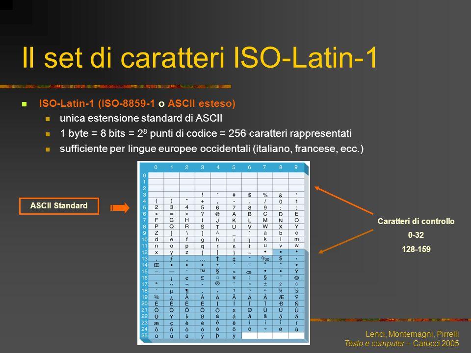 Lenci, Montemagni, Pirrelli Testo e computer – Carocci 2005 Il set di caratteri ISO-Latin-1 ASCII Standard Caratteri di controllo 0-32 128-159 ISO-Lat