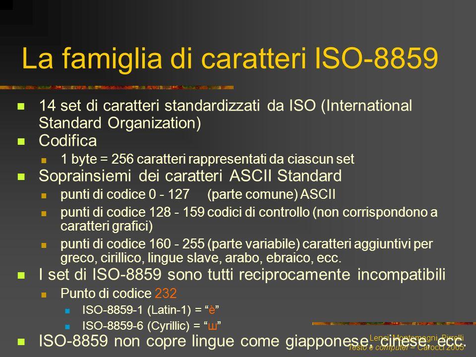 Lenci, Montemagni, Pirrelli Testo e computer – Carocci 2005 La famiglia di caratteri ISO-8859 14 set di caratteri standardizzati da ISO (International