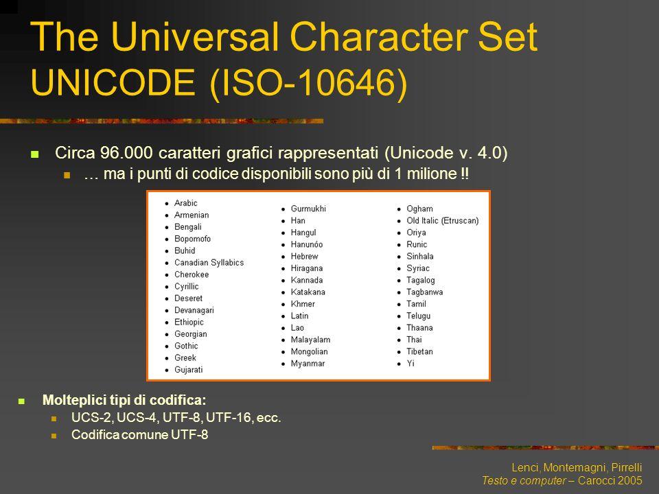 Lenci, Montemagni, Pirrelli Testo e computer – Carocci 2005 The Universal Character Set UNICODE (ISO-10646) Circa 96.000 caratteri grafici rappresenta