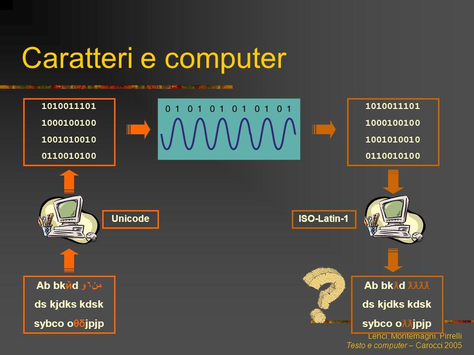 Lenci, Montemagni, Pirrelli Testo e computer – Carocci 2005 Caratteri e computer Ab bkйd من٦و ds kjdks kdsk sybco oθδjpjp Unicode ISO-Latin-1 10100111