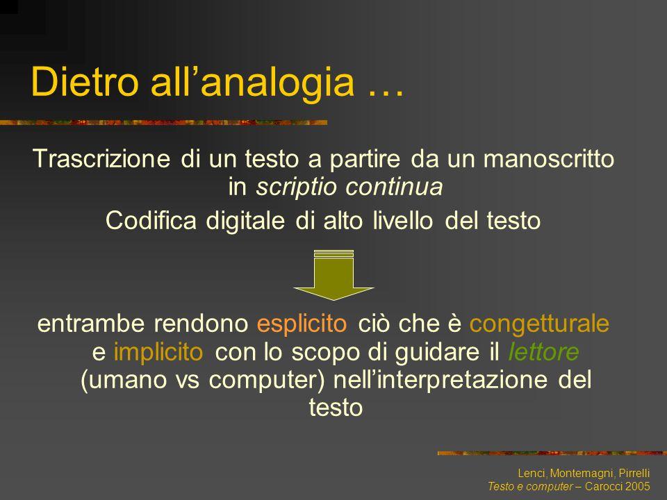 Lenci, Montemagni, Pirrelli Testo e computer – Carocci 2005 Trascrizione di un testo a partire da un manoscritto in scriptio continua Codifica digital