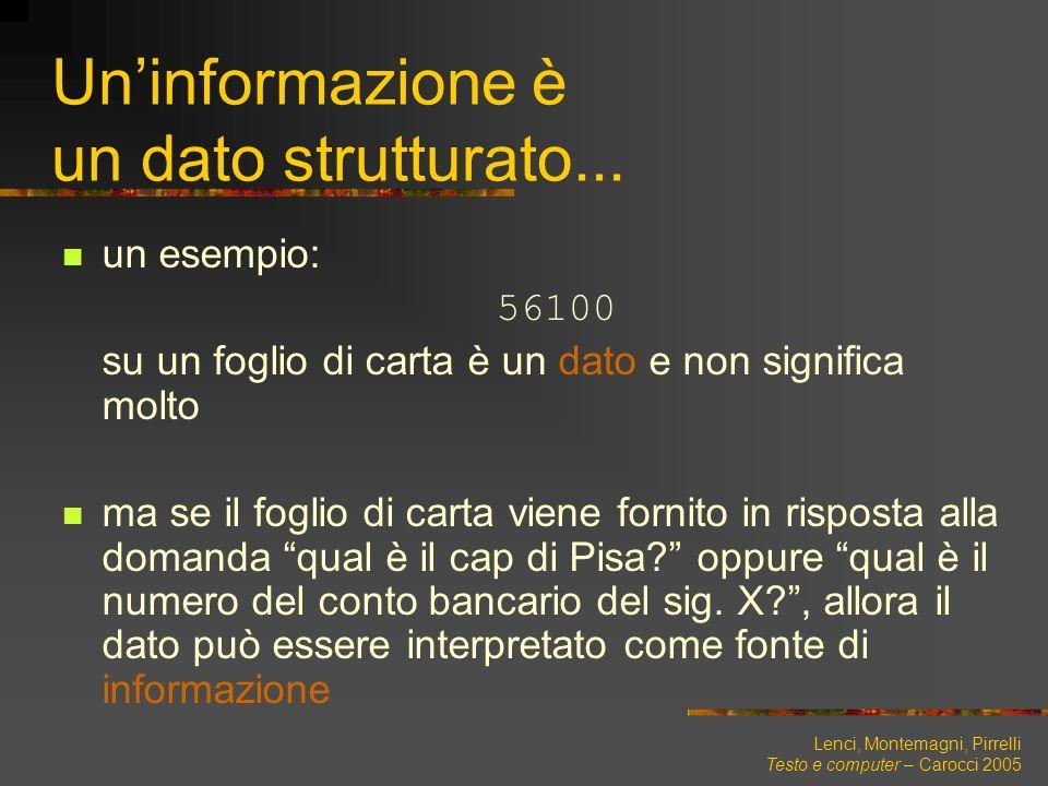 Lenci, Montemagni, Pirrelli Testo e computer – Carocci 2005 Uninformazione è un dato strutturato... un esempio: 56100 su un foglio di carta è un dato