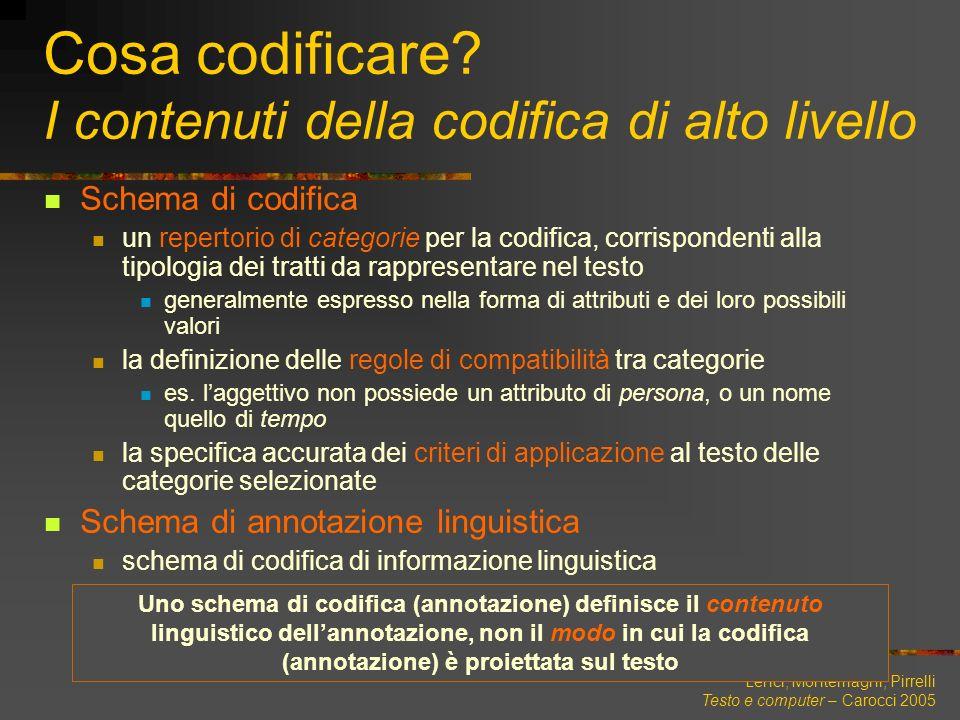 Lenci, Montemagni, Pirrelli Testo e computer – Carocci 2005 Cosa codificare? I contenuti della codifica di alto livello Schema di codifica un repertor