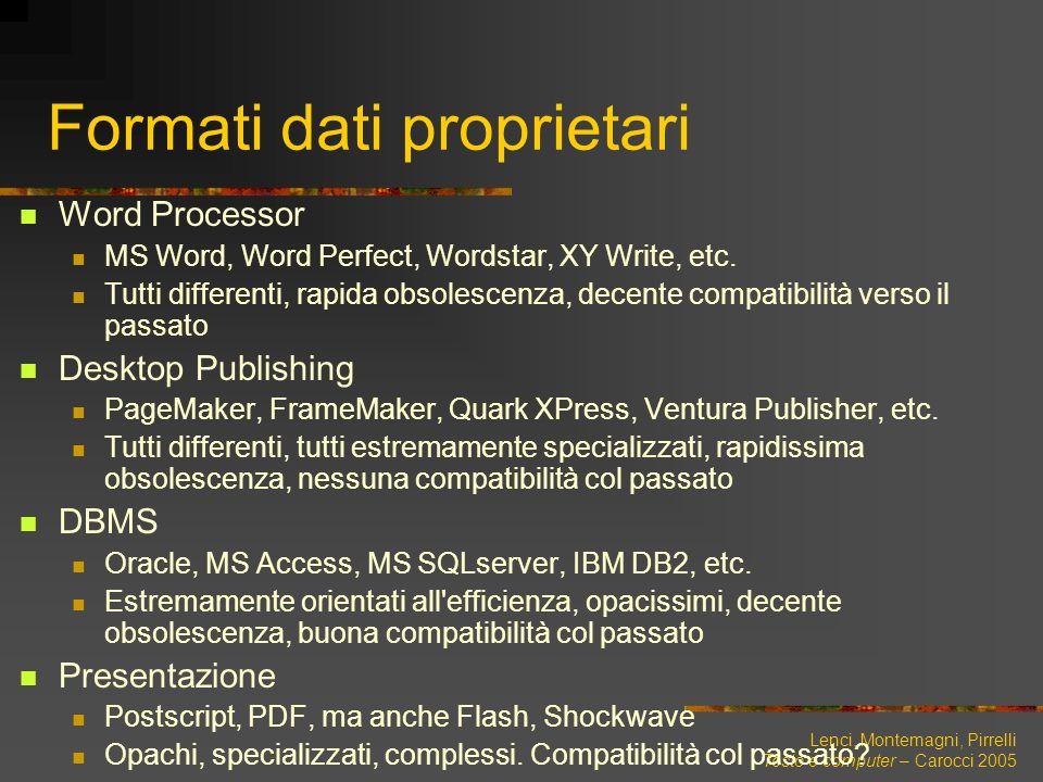 Lenci, Montemagni, Pirrelli Testo e computer – Carocci 2005 Formati dati proprietari Word Processor MS Word, Word Perfect, Wordstar, XY Write, etc. Tu