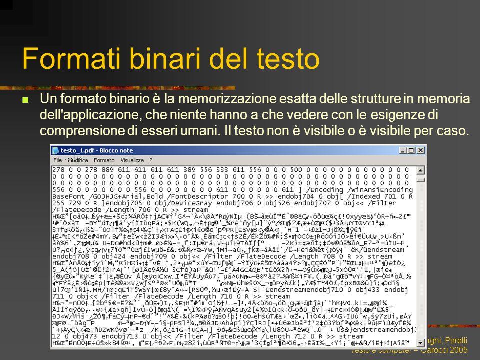 Lenci, Montemagni, Pirrelli Testo e computer – Carocci 2005 Formati binari del testo Un formato binario è la memorizzazione esatta delle strutture in