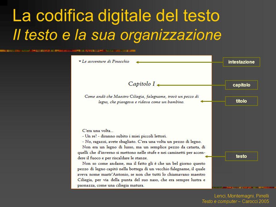 Lenci, Montemagni, Pirrelli Testo e computer – Carocci 2005 La codifica digitale del testo Il testo e la sua organizzazione titolo capitolo testo inte