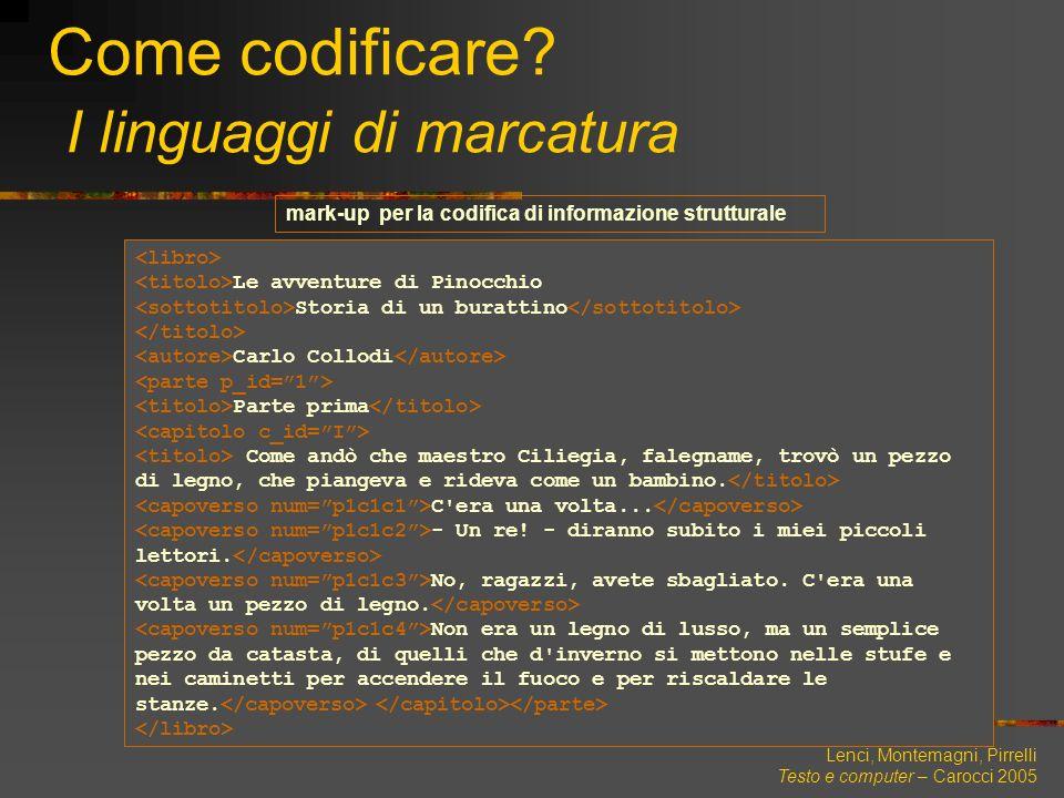 Lenci, Montemagni, Pirrelli Testo e computer – Carocci 2005 Come codificare? I linguaggi di marcatura Le avventure di Pinocchio Storia di un burattino