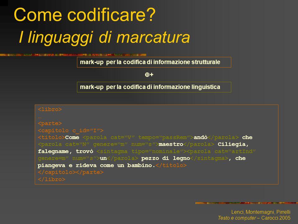Lenci, Montemagni, Pirrelli Testo e computer – Carocci 2005 Come codificare? I linguaggi di marcatura … Come andò che maestro Ciliegia, falegname, tro