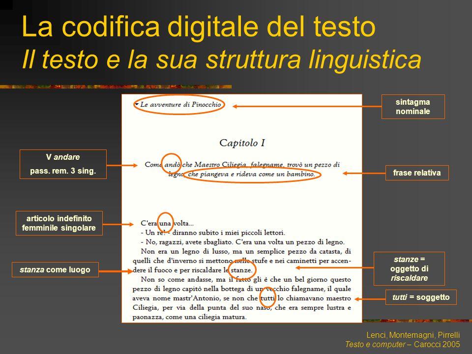Lenci, Montemagni, Pirrelli Testo e computer – Carocci 2005 La codifica digitale del testo Il testo e la sua struttura linguistica frase relativa tutt